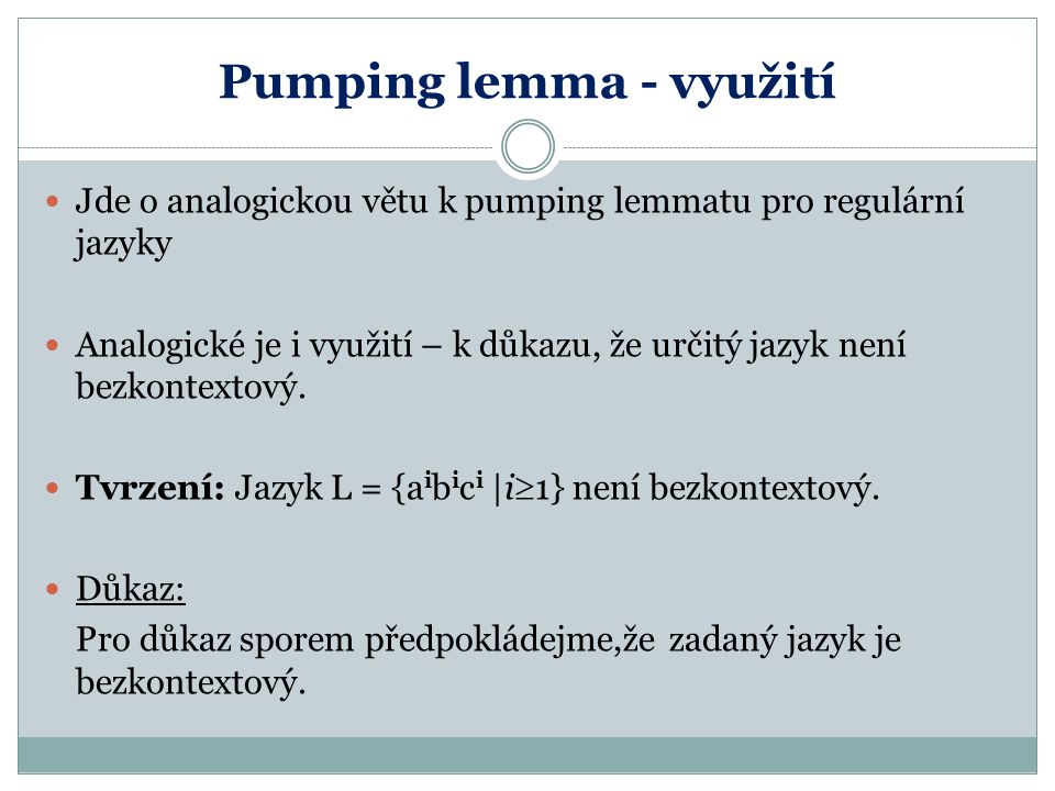 Pumping lemma - využití