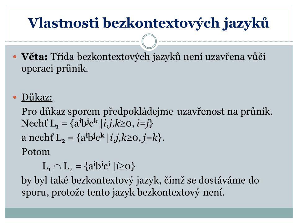 Vlastnosti bezkontextových jazyků