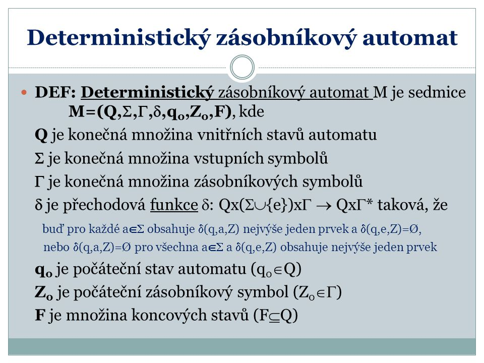 Deterministický zásobníkový automat