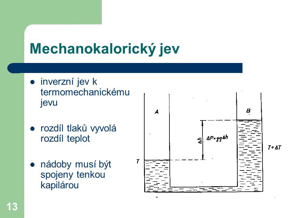 Mechanokalorický jev inverzní jev k termomechanickému jevu