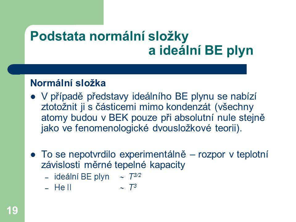 Podstata normální složky a ideální BE plyn