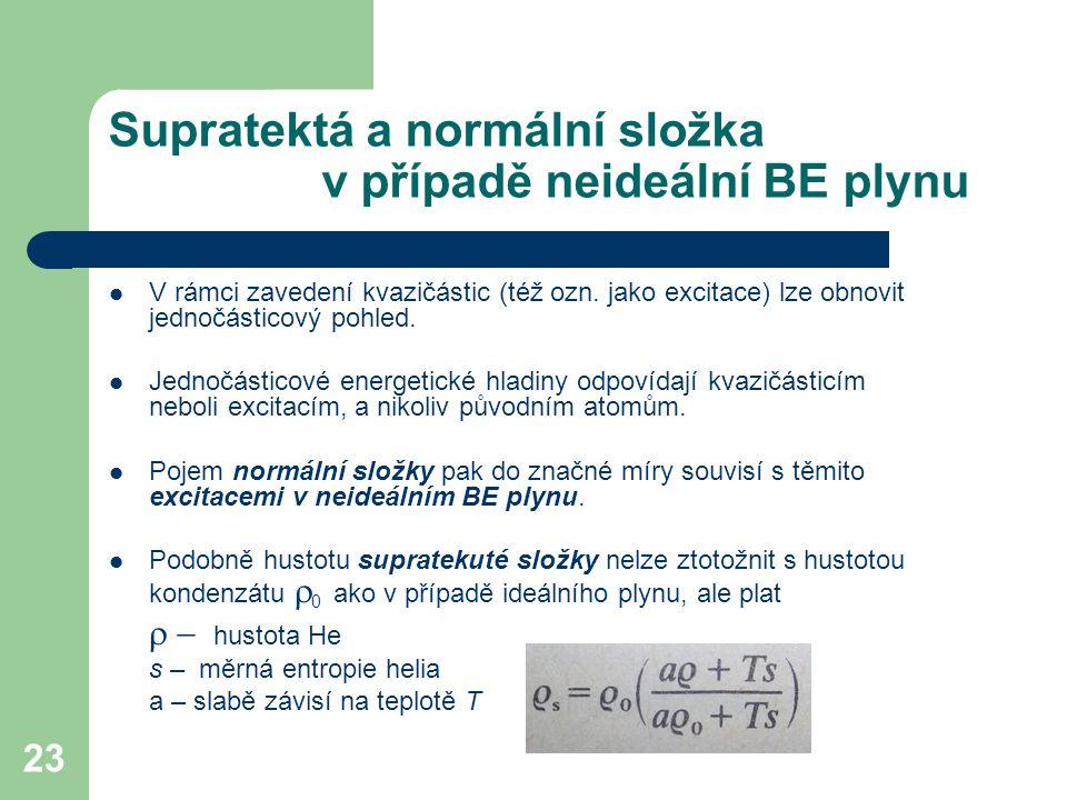 Supratektá a normální složka v případě neideální BE plynu