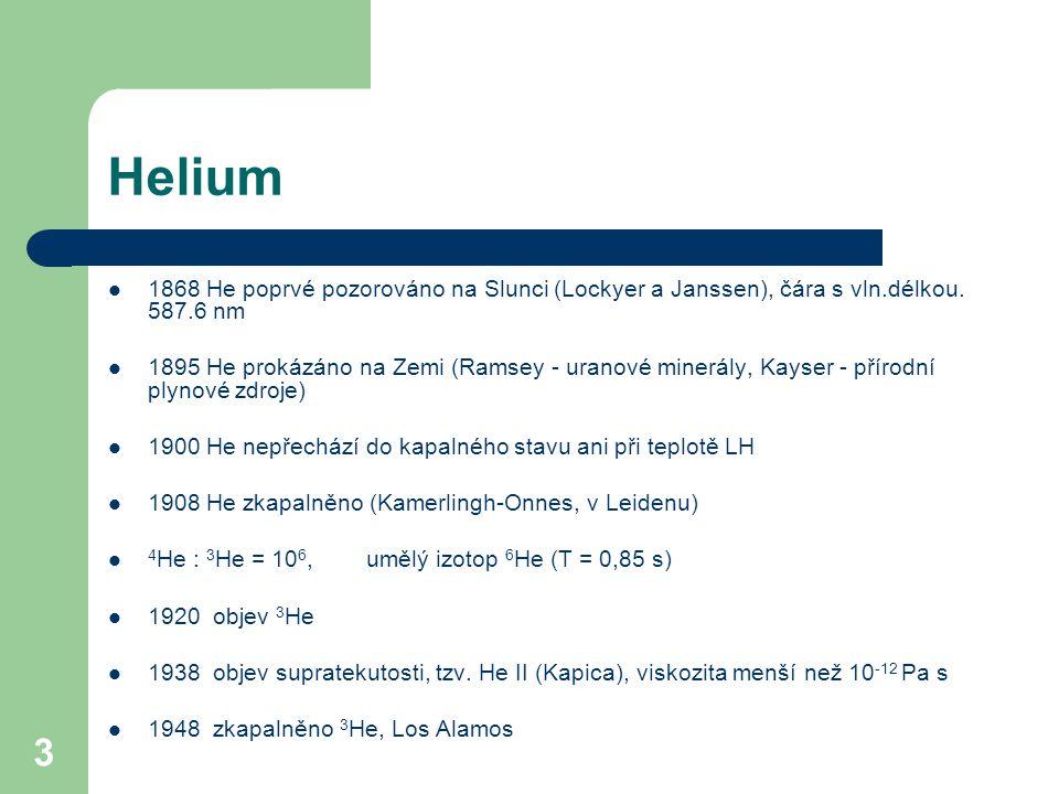 Helium 1868 He poprvé pozorováno na Slunci (Lockyer a Janssen), čára s vln.délkou. 587.6 nm.