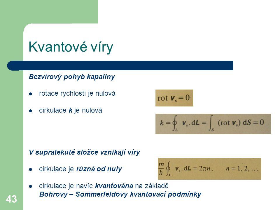 Kvantové víry Bezvírový pohyb kapaliny rotace rychlosti je nulová
