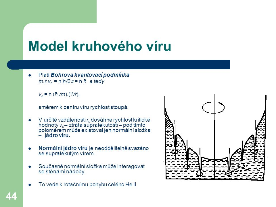 Model kruhového víru Platí Bohrova kvantovací podmínka