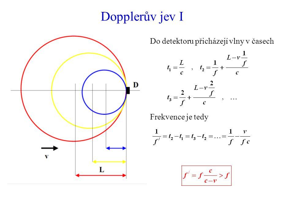 Dopplerův jev I Do detektoru přicházejí vlny v časech