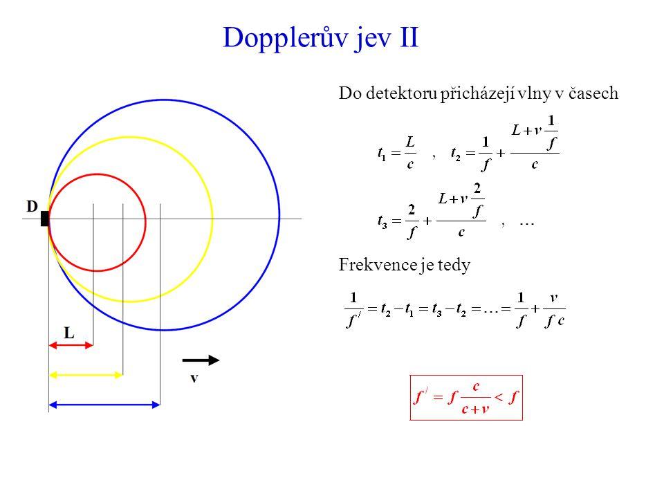 Dopplerův jev II Do detektoru přicházejí vlny v časech