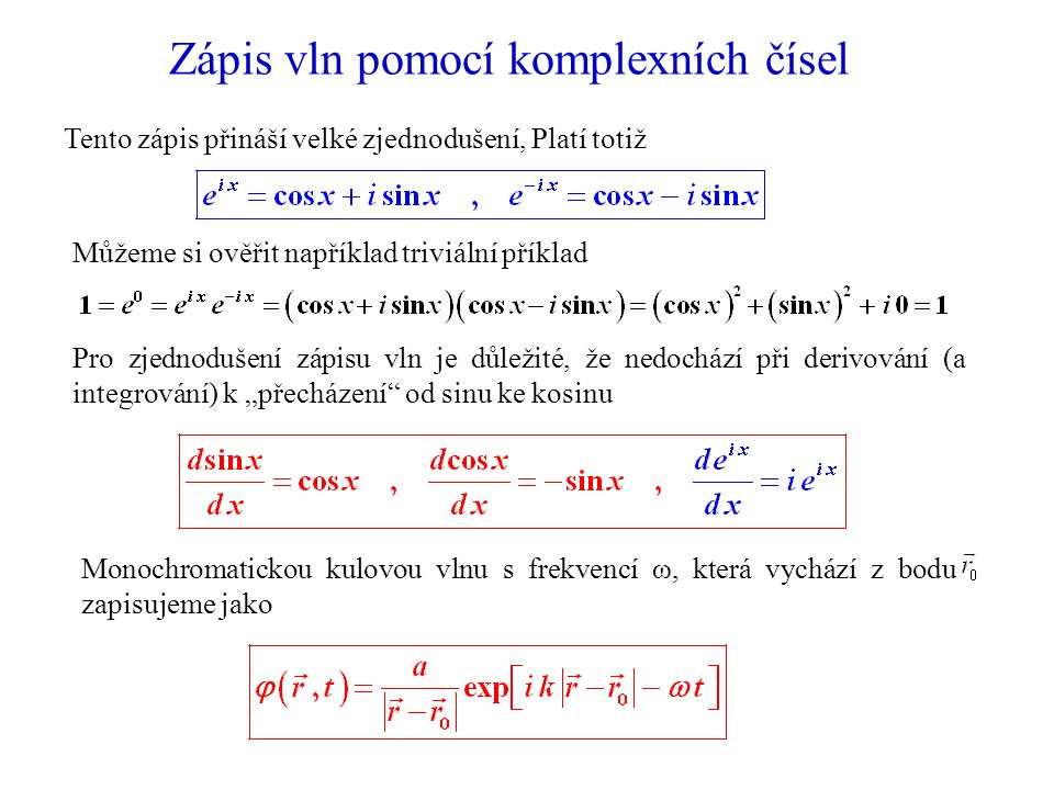 Zápis vln pomocí komplexních čísel