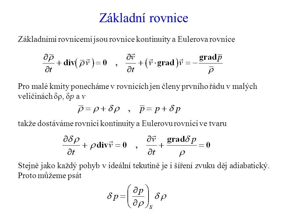 Základní rovnice Základními rovnicemi jsou rovnice kontinuity a Eulerova rovnice.