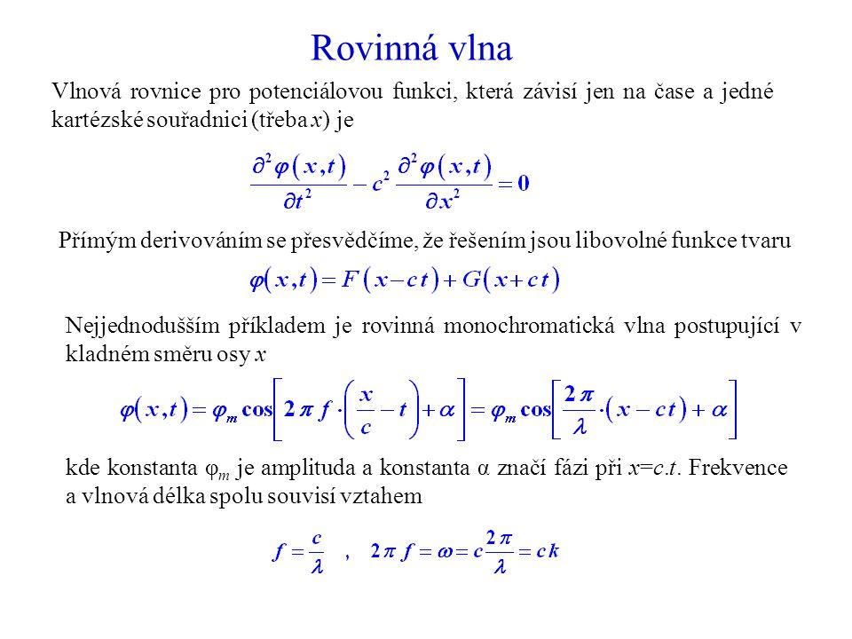 Rovinná vlna Vlnová rovnice pro potenciálovou funkci, která závisí jen na čase a jedné kartézské souřadnici (třeba x) je.