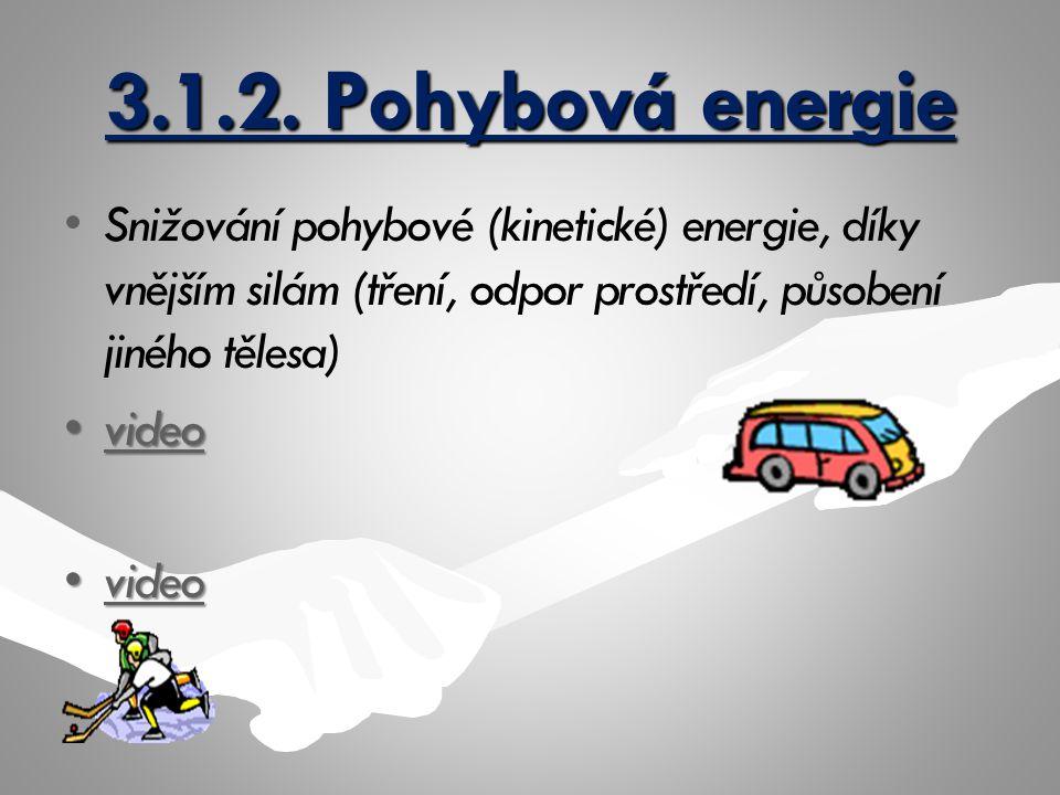 3.1.2. Pohybová energie Snižování pohybové (kinetické) energie, díky vnějším silám (tření, odpor prostředí, působení jiného tělesa)