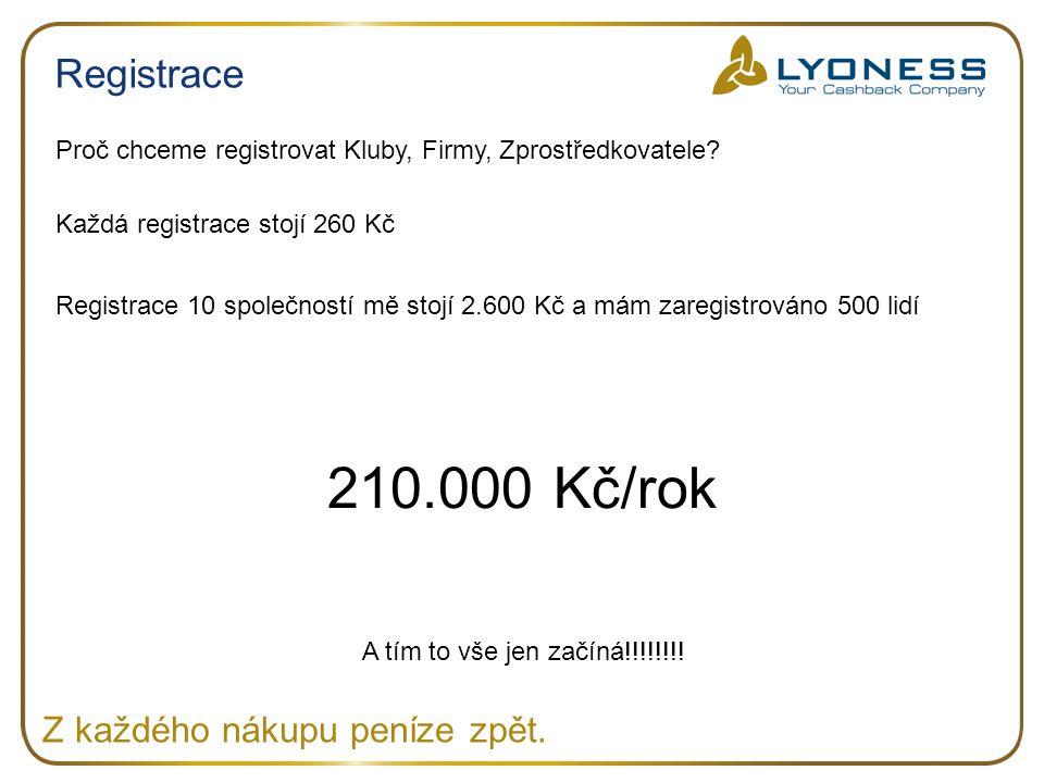 210.000 Kč/rok Registrace Z každého nákupu peníze zpět.