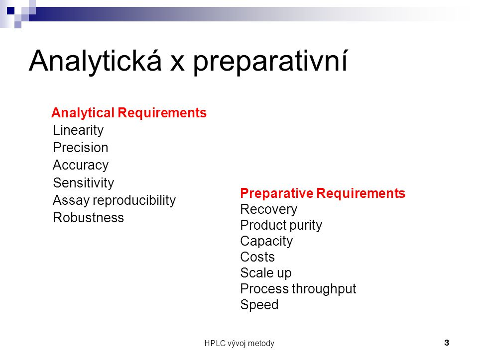 Analytická x preparativní