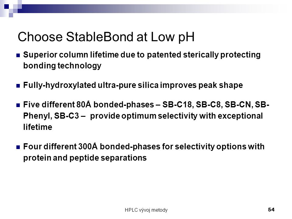 Choose StableBond at Low pH