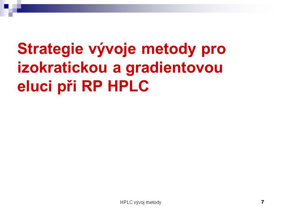 Strategie vývoje metody pro izokratickou a gradientovou eluci při RP HPLC