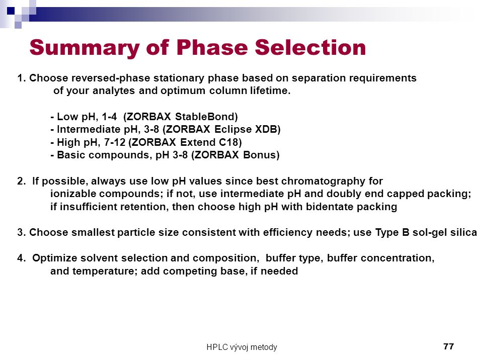 Summary of Phase Selection