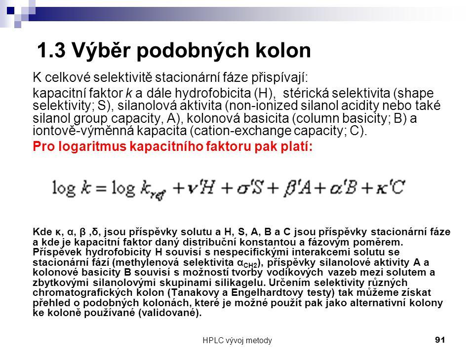 1.3 Výběr podobných kolon K celkové selektivitě stacionární fáze přispívají: