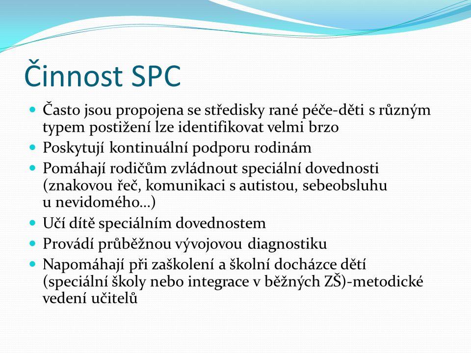 Činnost SPC Často jsou propojena se středisky rané péče-děti s různým typem postižení lze identifikovat velmi brzo.