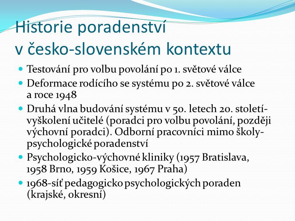 Historie poradenství v česko-slovenském kontextu