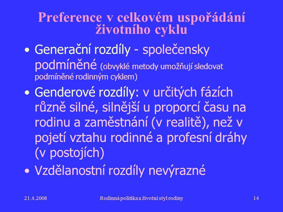 Preference v celkovém uspořádání životního cyklu