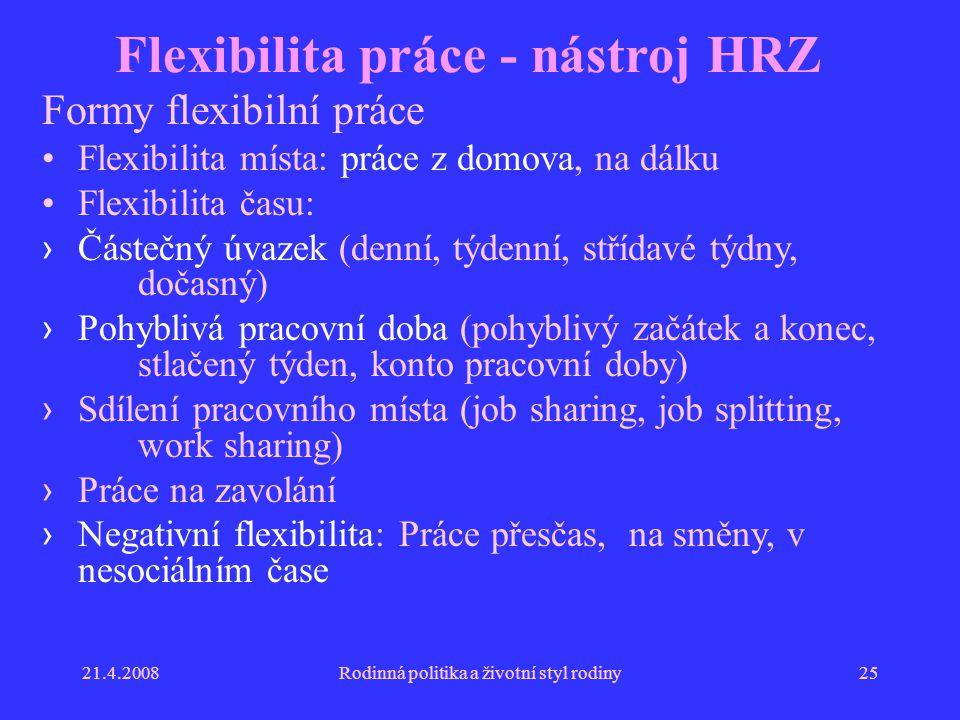 Flexibilita práce - nástroj HRZ