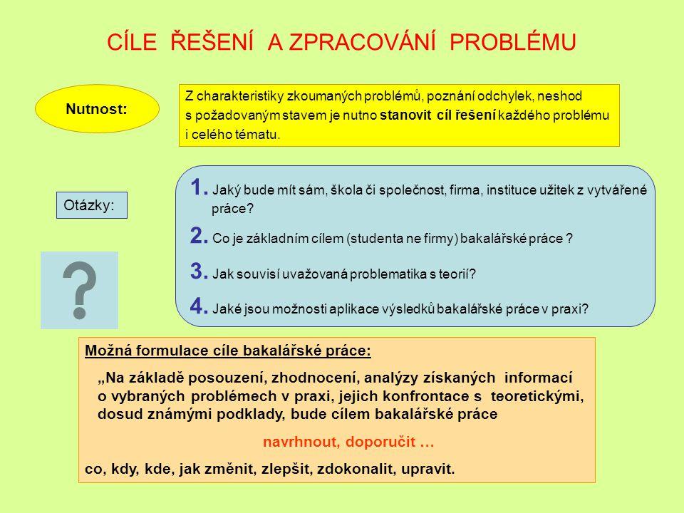 CÍLE ŘEŠENÍ A ZPRACOVÁNÍ PROBLÉMU
