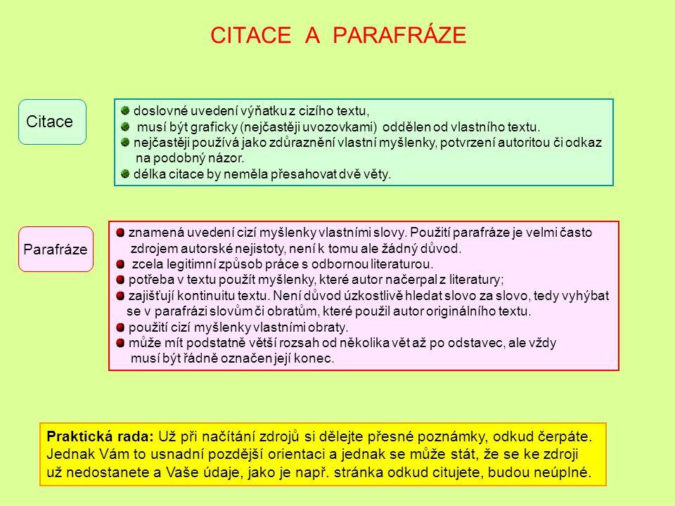 CITACE A PARAFRÁZE Citace Parafráze