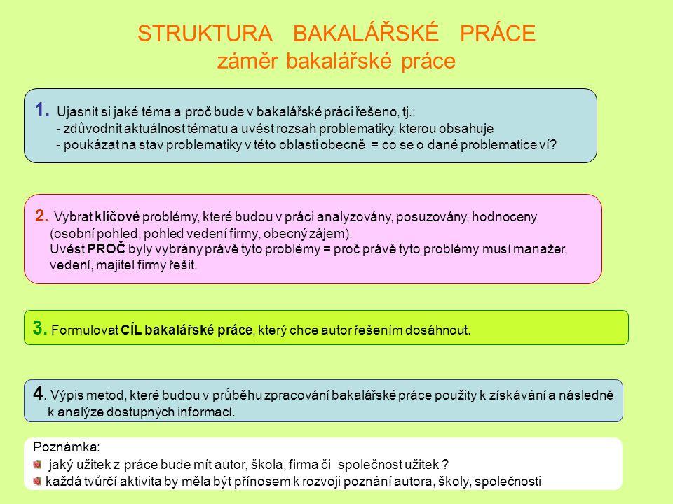 STRUKTURA BAKALÁŘSKÉ PRÁCE záměr bakalářské práce