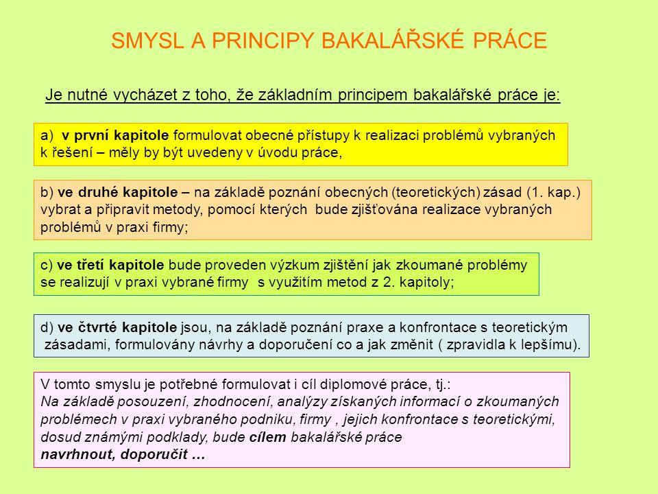 SMYSL A PRINCIPY BAKALÁŘSKÉ PRÁCE
