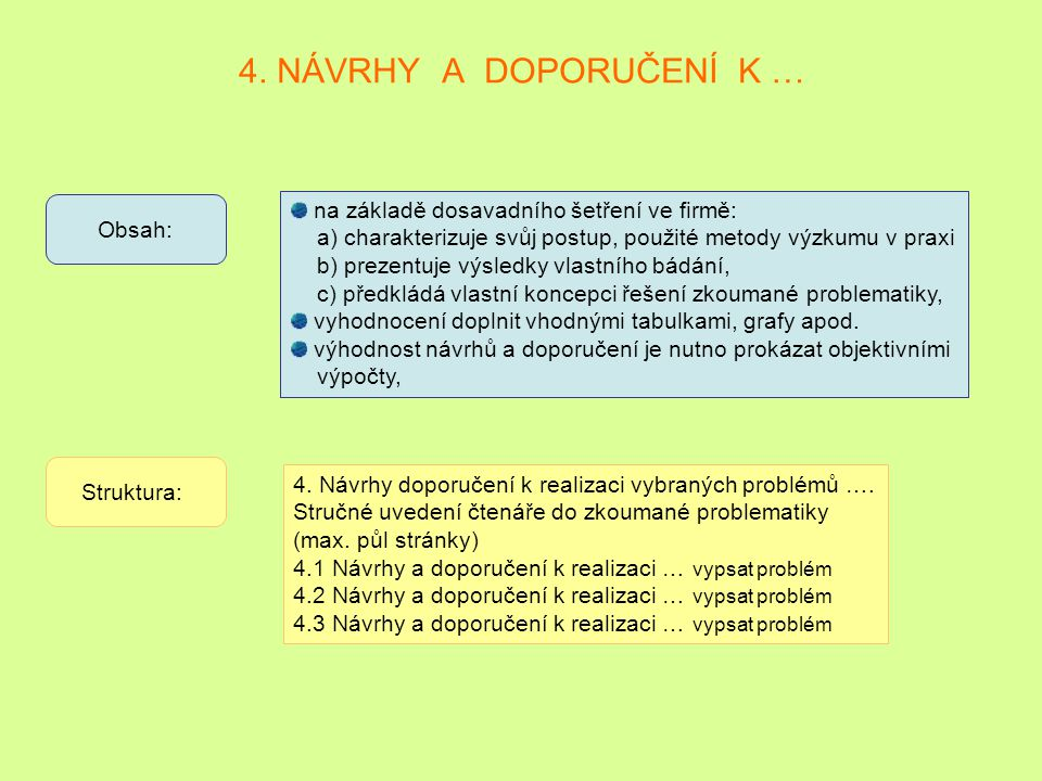 4. NÁVRHY A DOPORUČENÍ K … na základě dosavadního šetření ve firmě: