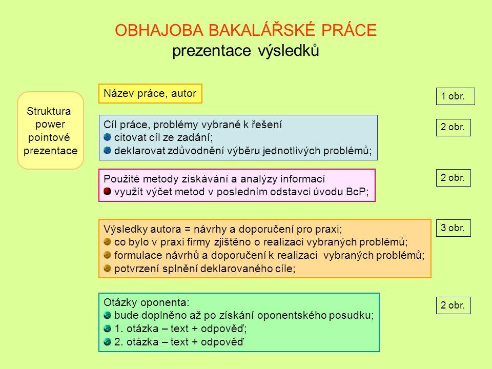 OBHAJOBA BAKALÁŘSKÉ PRÁCE prezentace výsledků