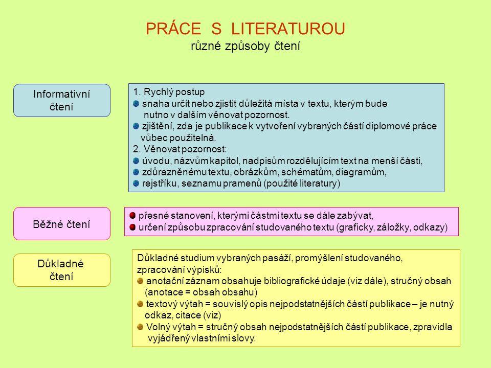 PRÁCE S LITERATUROU různé způsoby čtení
