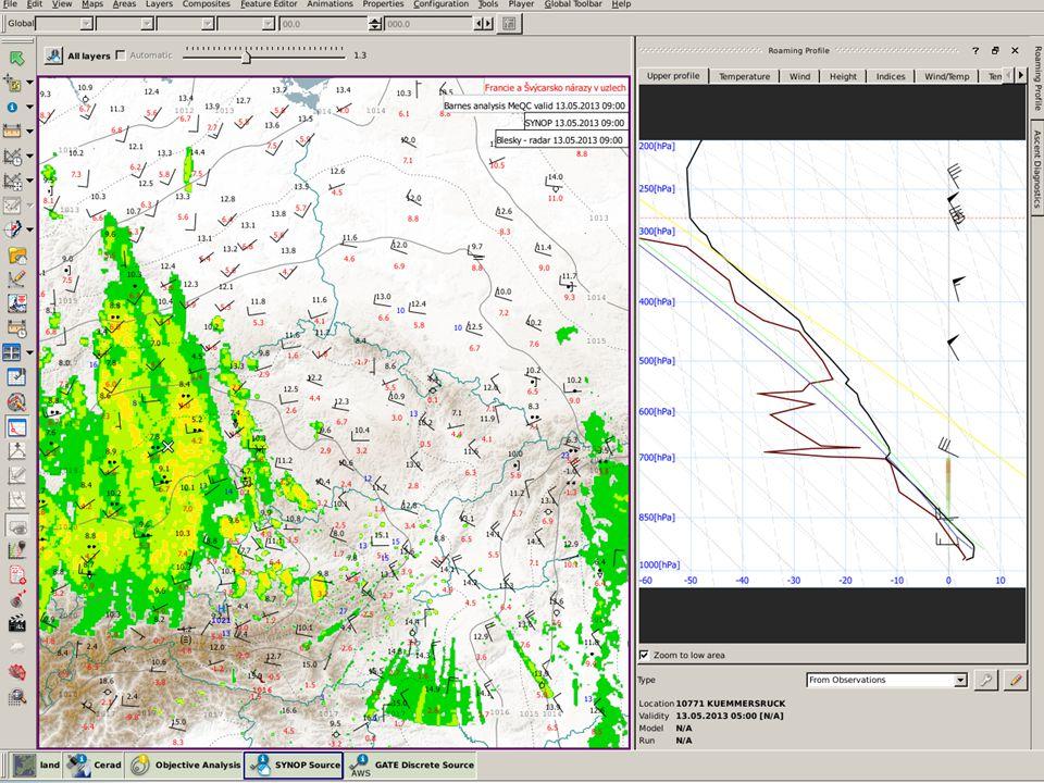 Roaming profile umožňuje s modelovou sondáží migrovat po mapě nebo ji nechat zafixovanou pro bod a aktualizuje se pak průběžně s termínem mapy.