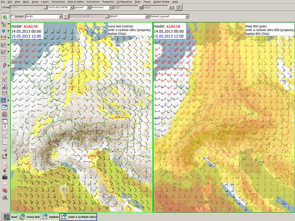 Vítr a vlhkost podle modelu při zemi (Td) a v 850 (theta-w), variantně v 925 hPa.