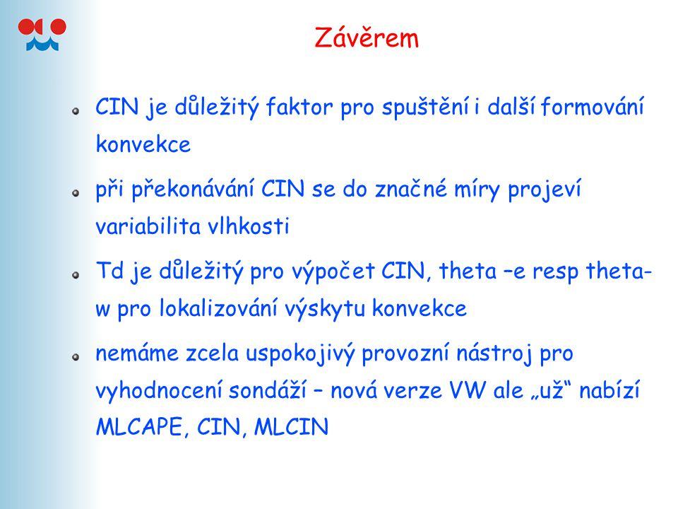 Závěrem CIN je důležitý faktor pro spuštění i další formování konvekce