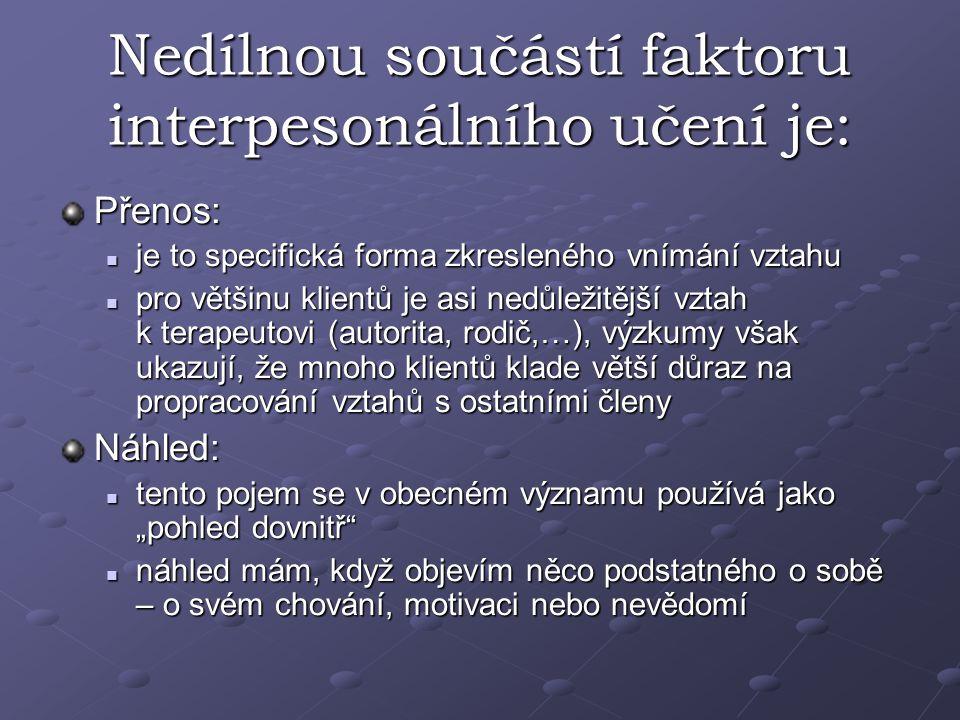 Nedílnou součástí faktoru interpesonálního učení je: