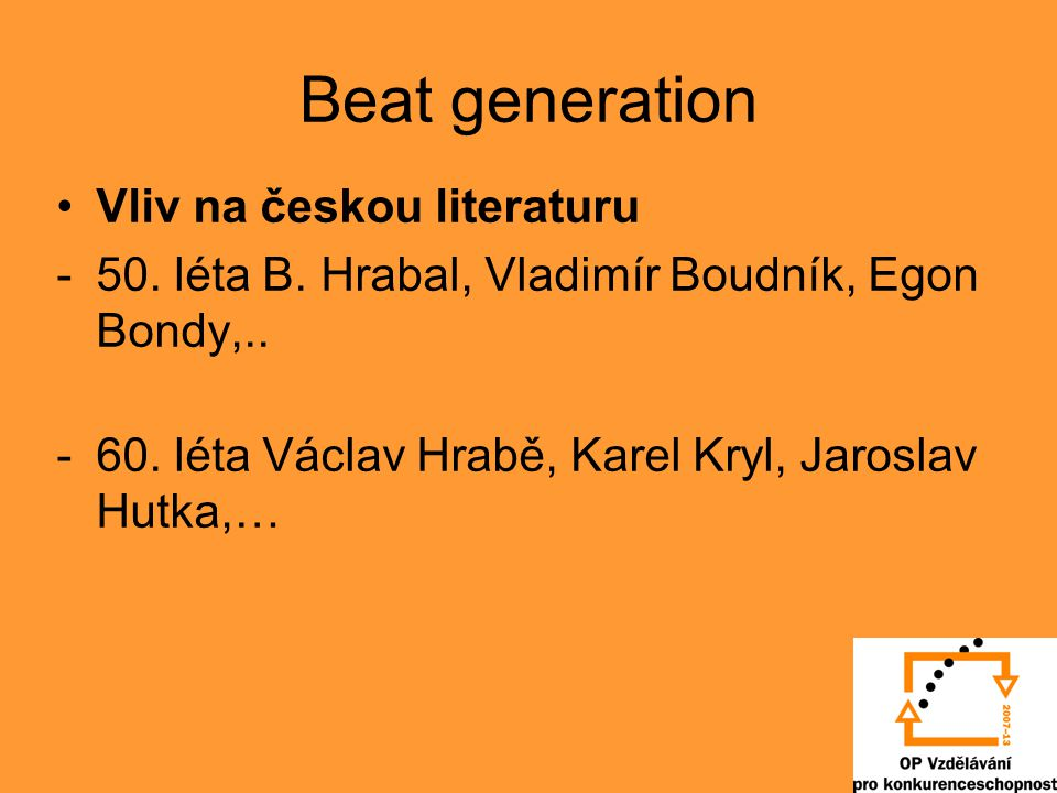 Beat generation Vliv na českou literaturu