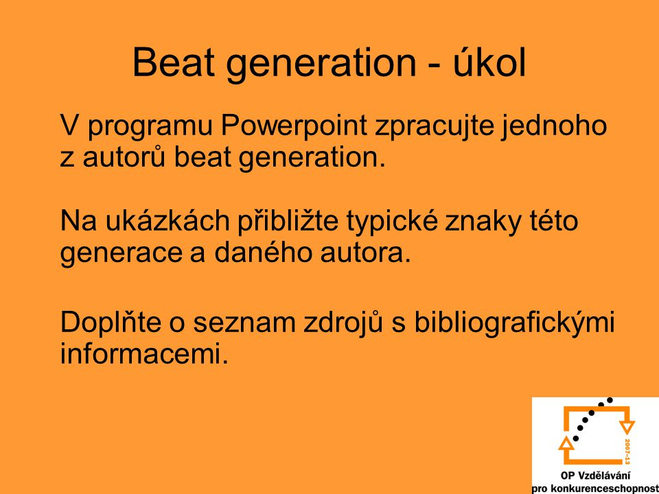 Beat generation - úkol