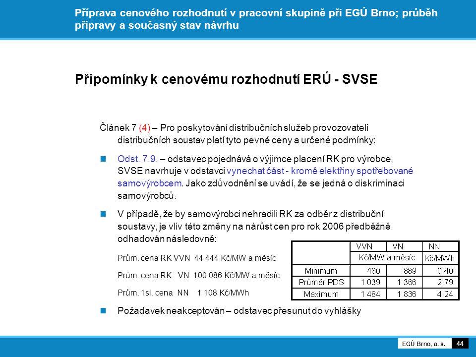 Připomínky k cenovému rozhodnutí ERÚ - SVSE