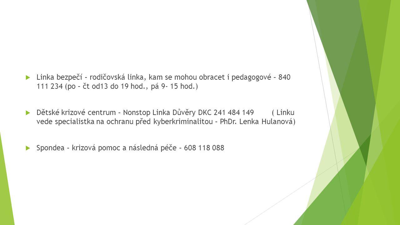 Linka bezpečí – rodičovská linka, kam se mohou obracet i pedagogové – 840 111 234 (po – čt od13 do 19 hod., pá 9- 15 hod.)
