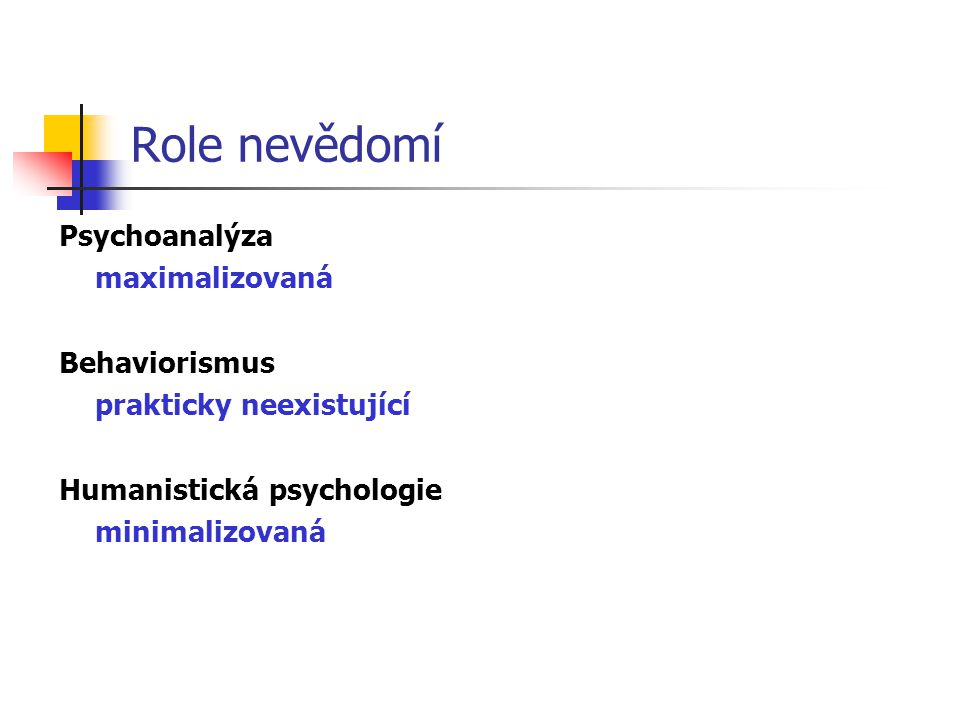 Role nevědomí Psychoanalýza maximalizovaná Behaviorismus