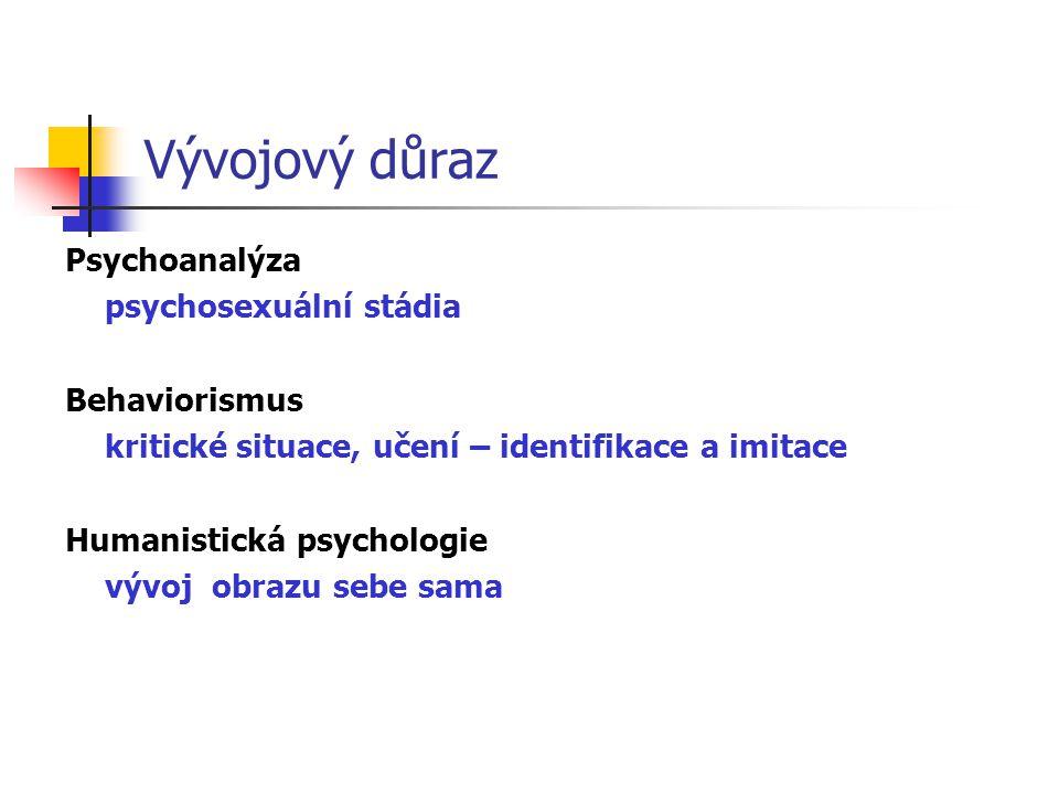 Vývojový důraz Psychoanalýza psychosexuální stádia Behaviorismus