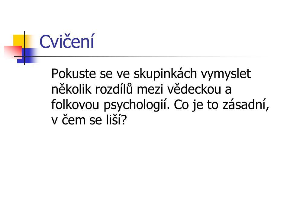 Cvičení Pokuste se ve skupinkách vymyslet několik rozdílů mezi vědeckou a folkovou psychologií.