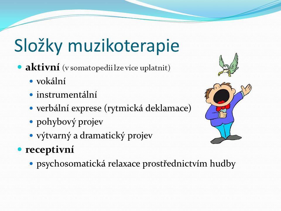 Složky muzikoterapie aktivní (v somatopedii lze více uplatnit)