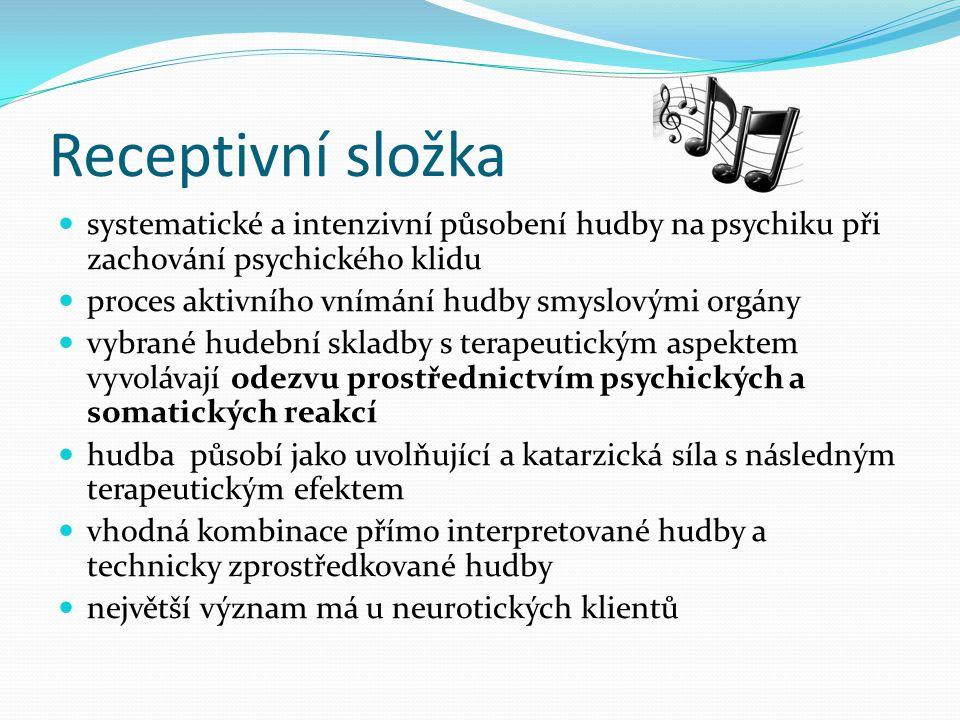 Receptivní složka systematické a intenzivní působení hudby na psychiku při zachování psychického klidu.