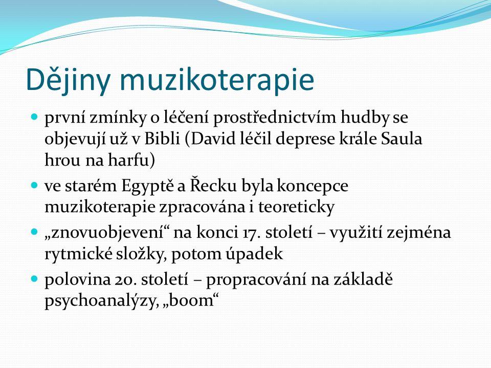 Dějiny muzikoterapie první zmínky o léčení prostřednictvím hudby se objevují už v Bibli (David léčil deprese krále Saula hrou na harfu)
