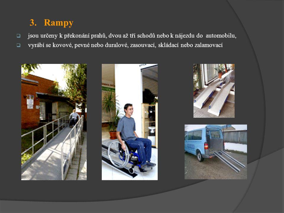 3. Rampy jsou určeny k překonání prahů, dvou až tří schodů nebo k nájezdu do automobilu,