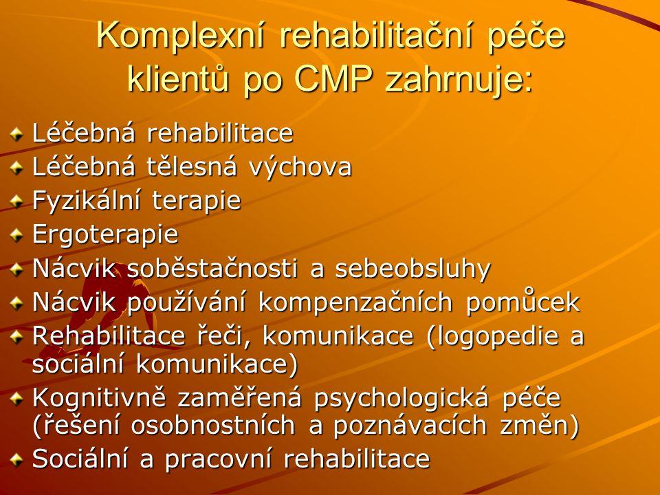 Komplexní rehabilitační péče klientů po CMP zahrnuje: