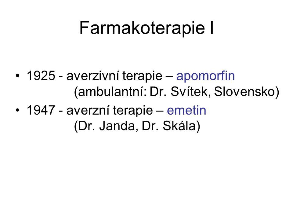 Farmakoterapie I 1925 - averzivní terapie – apomorfin (ambulantní: Dr. Svítek, Slovensko)