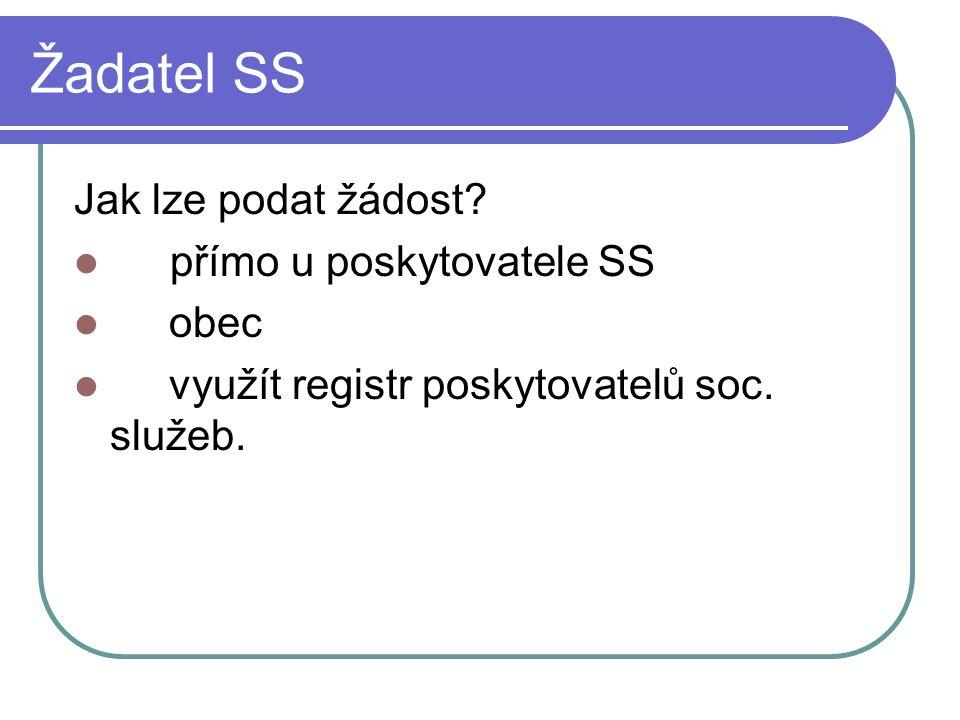 Žadatel SS Jak lze podat žádost přímo u poskytovatele SS obec